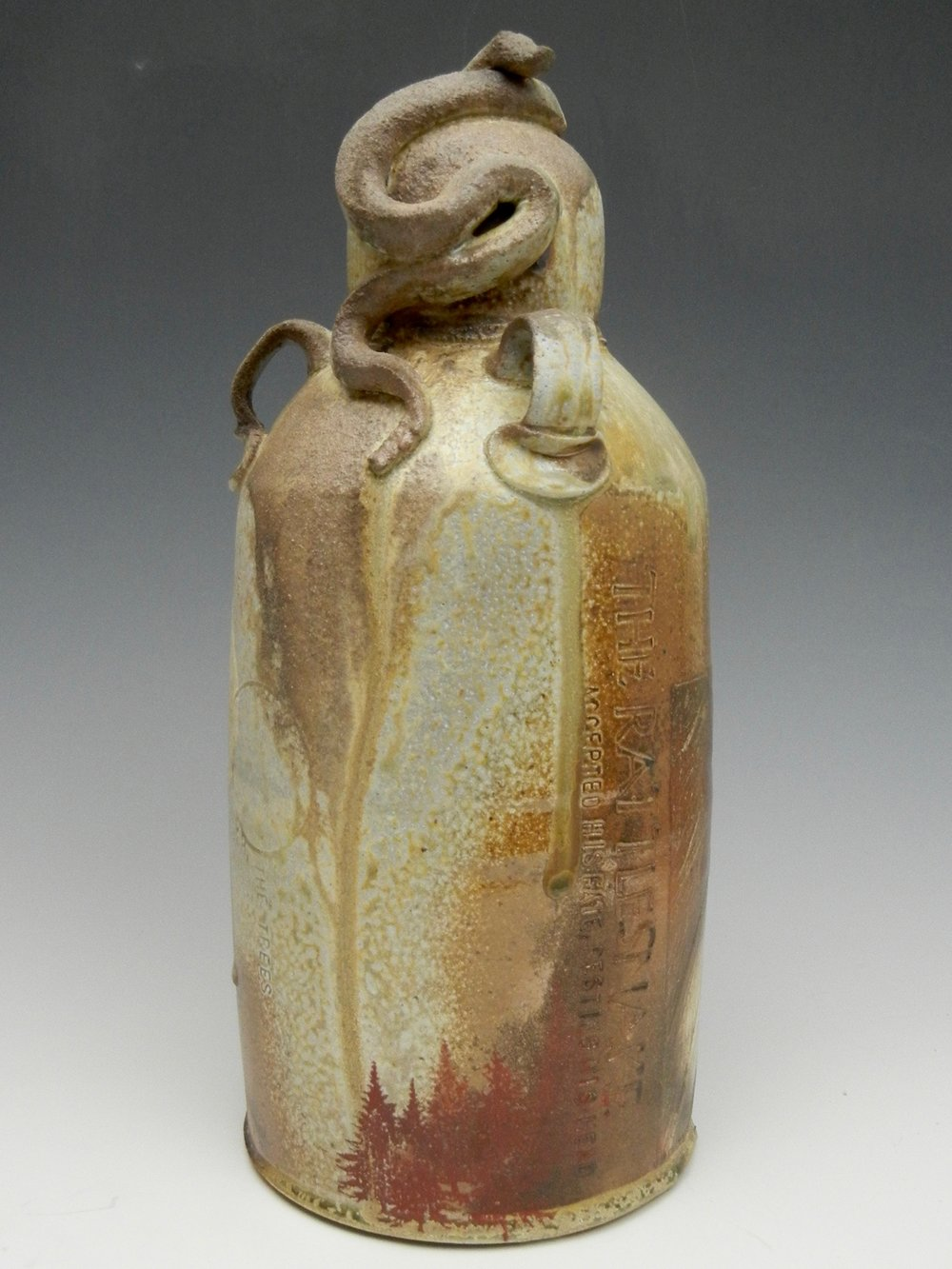 Lorenz Pottery, handmade, ceramics, pottery, folk pottery, wood fired, soda fired, grave marker, snake
