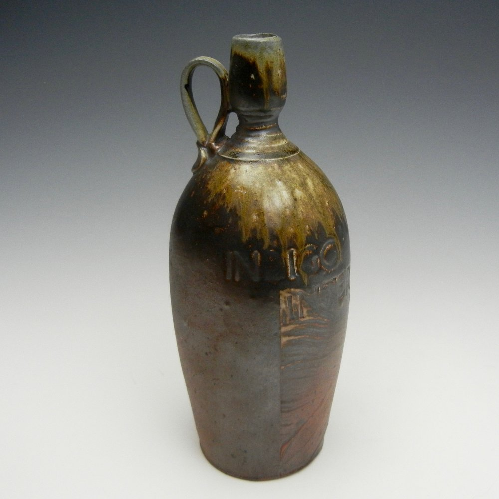 Lorenz Pottery, handmade, ceramics, pottery, folk pottery, wood fired, soda fired, jug, bottle