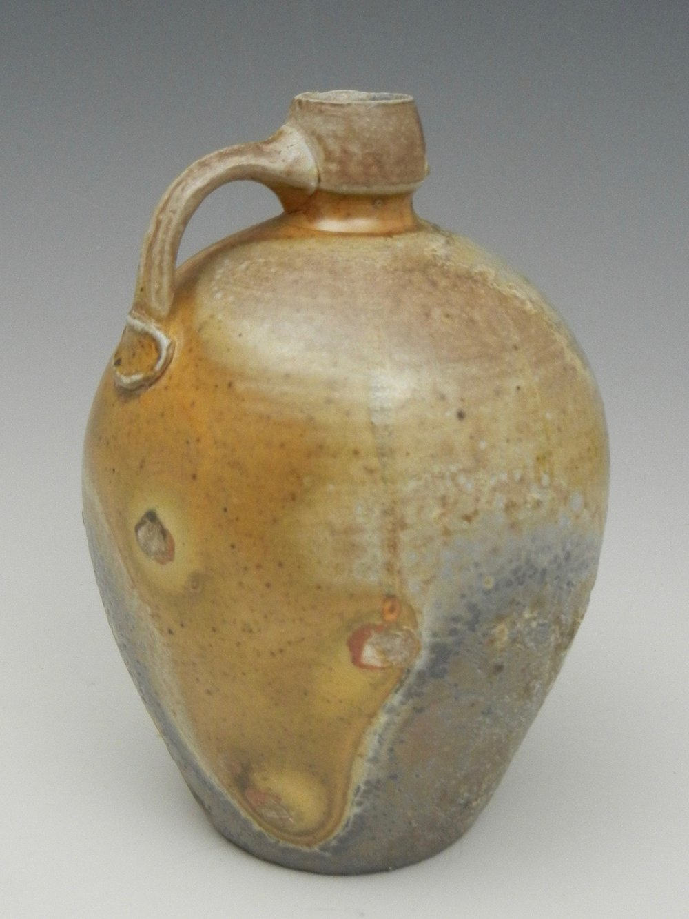 Lorenz Pottery, handmade, ceramics, pottery, folk pottery, wood fired, soda fired, jug, face jug, bottle