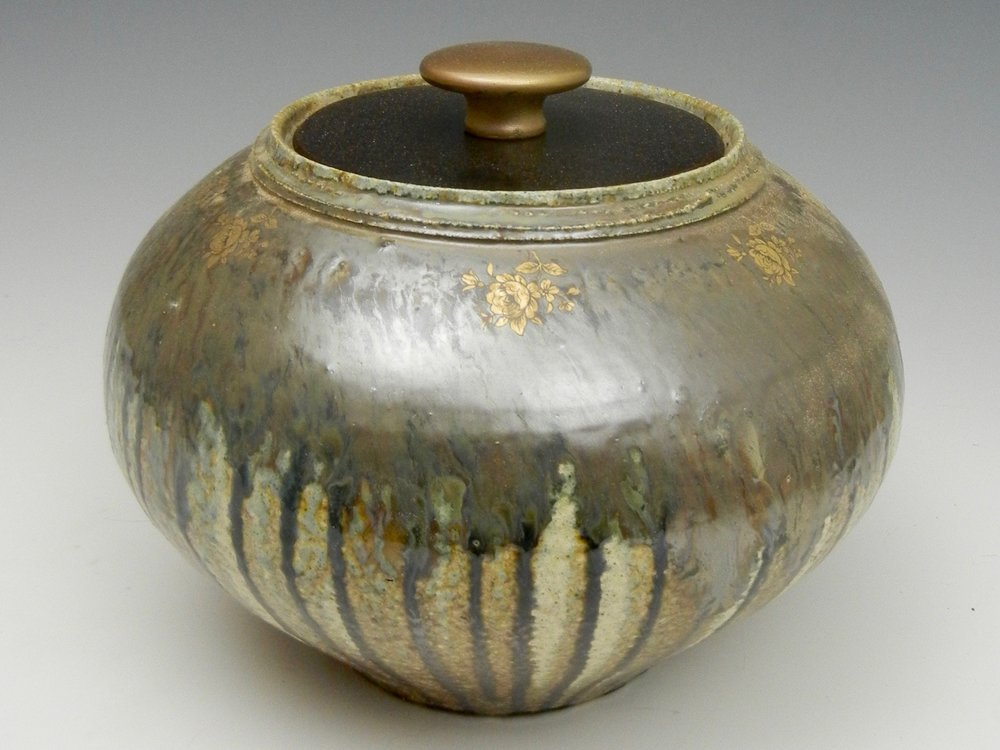 Lorenz Pottery, handmade, ceramics, pottery, folk pottery, wood fired, soda fired, lidded, jar