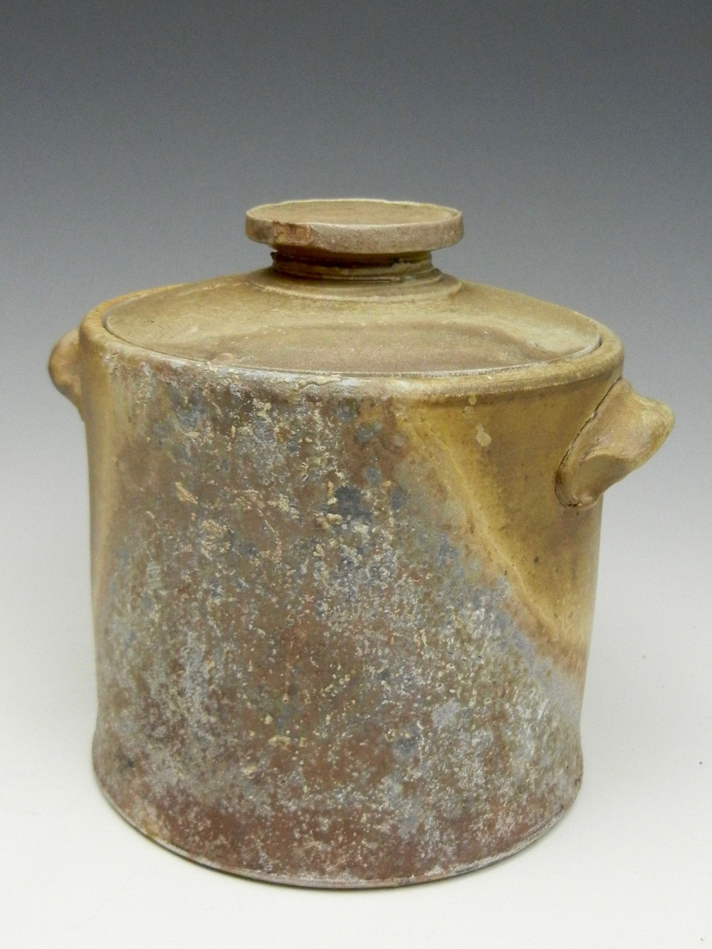Lorenz Pottery, handmade, ceramics, pottery, folk pottery, wood fired, soda fired, lidded, jar, crock, fermenter
