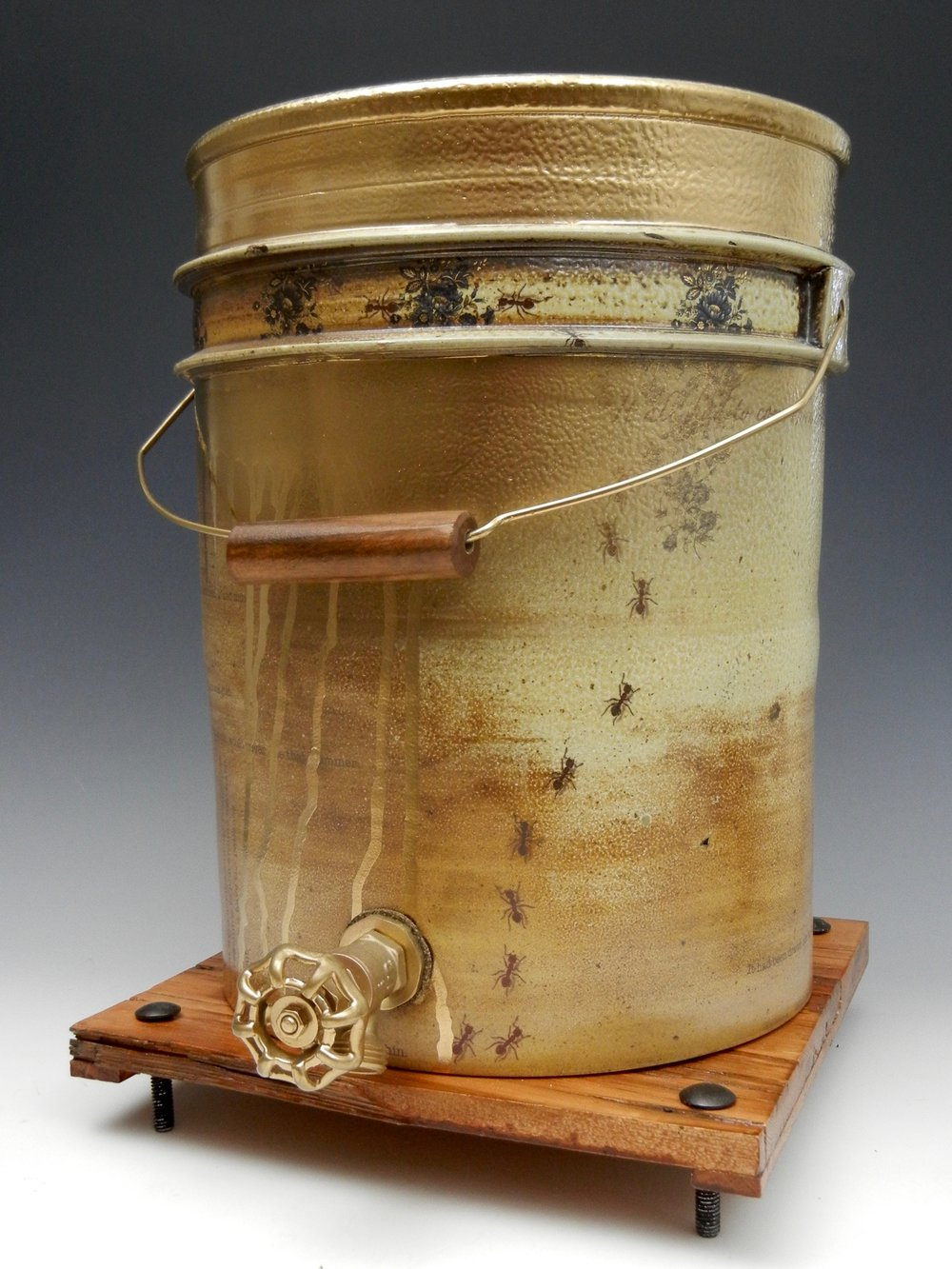 Lorenz Pottery, handmade, ceramics, pottery, folk pottery, wood fired, soda fired, bucket, water cooler