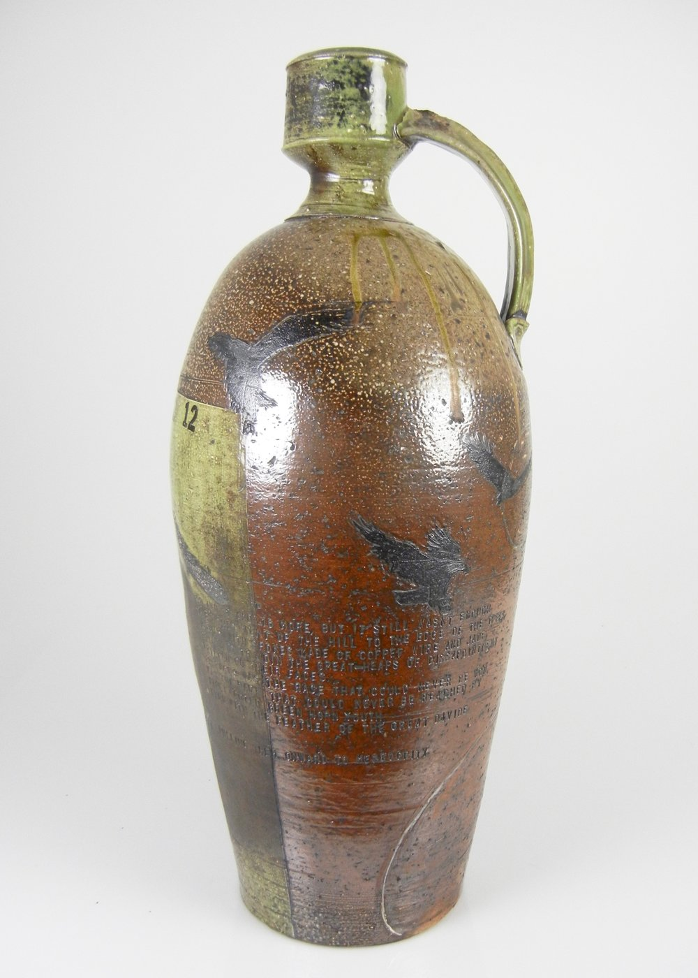 Lorenz Pottery, ceramics, pottery, folk pottery, wood fired, soda fired, jug, cider jug