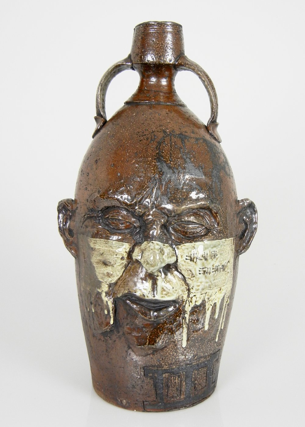 Lorenz Pottery, ceramics, pottery, folk pottery, wood fired, soda fired, jug, face jug, ugly jug