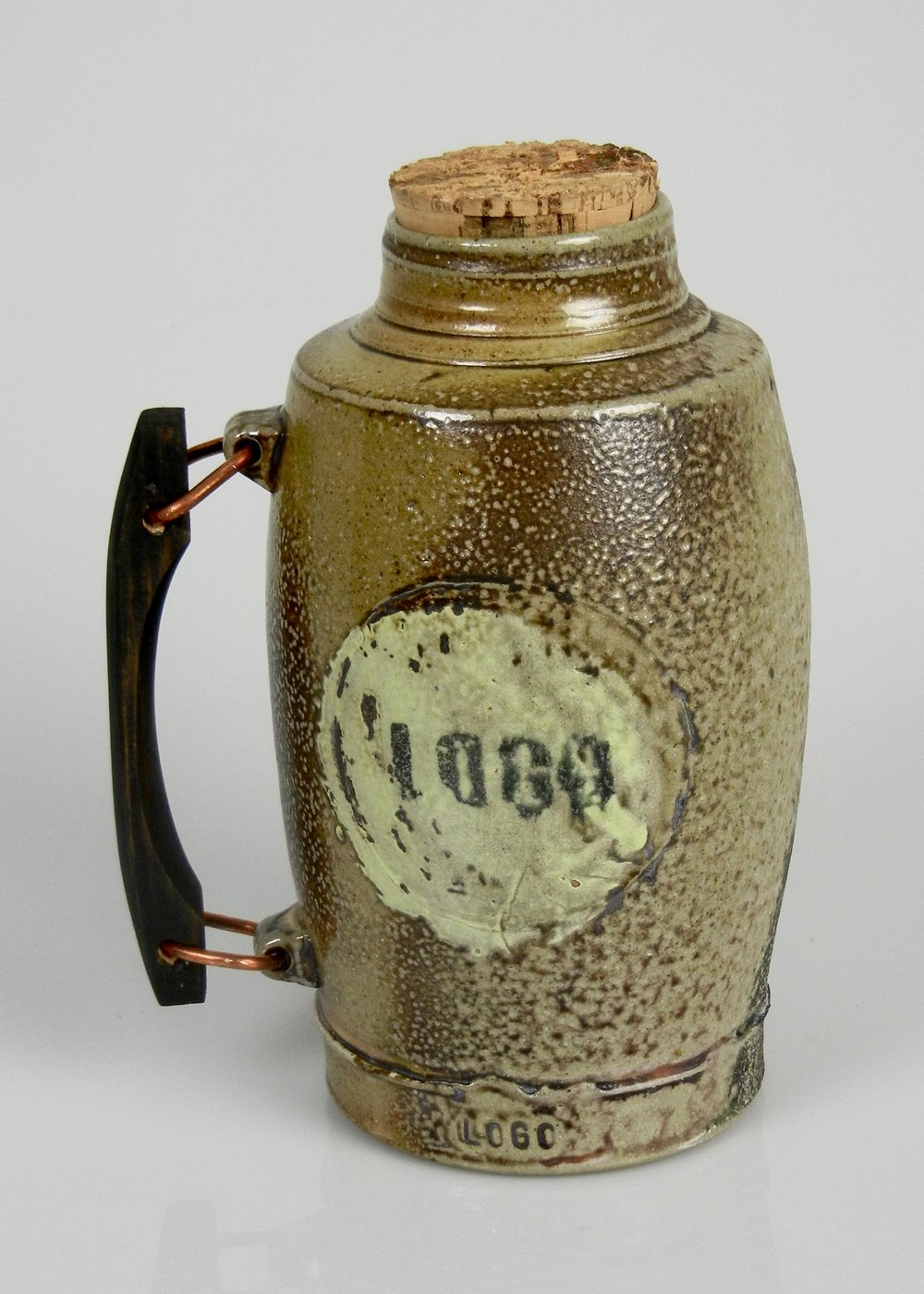 Lorenz Pottery, ceramics, pottery, folk pottery, wood fired, soda fired, thermos, flask, logo
