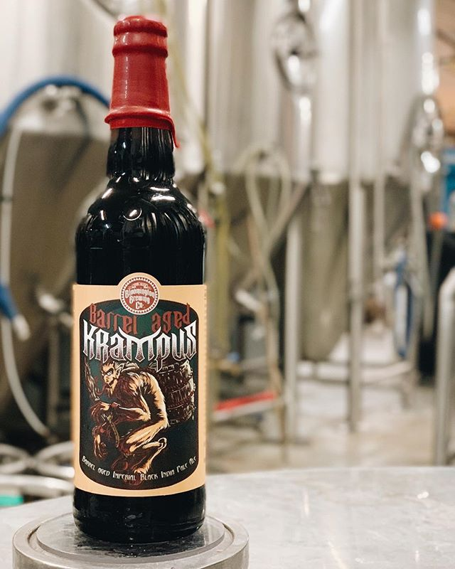 Barrel-aged Krampus Imperial Black IPA arrives at the Brewpub today — available on draft and in 22 oz. wax-dipped bomber bottles