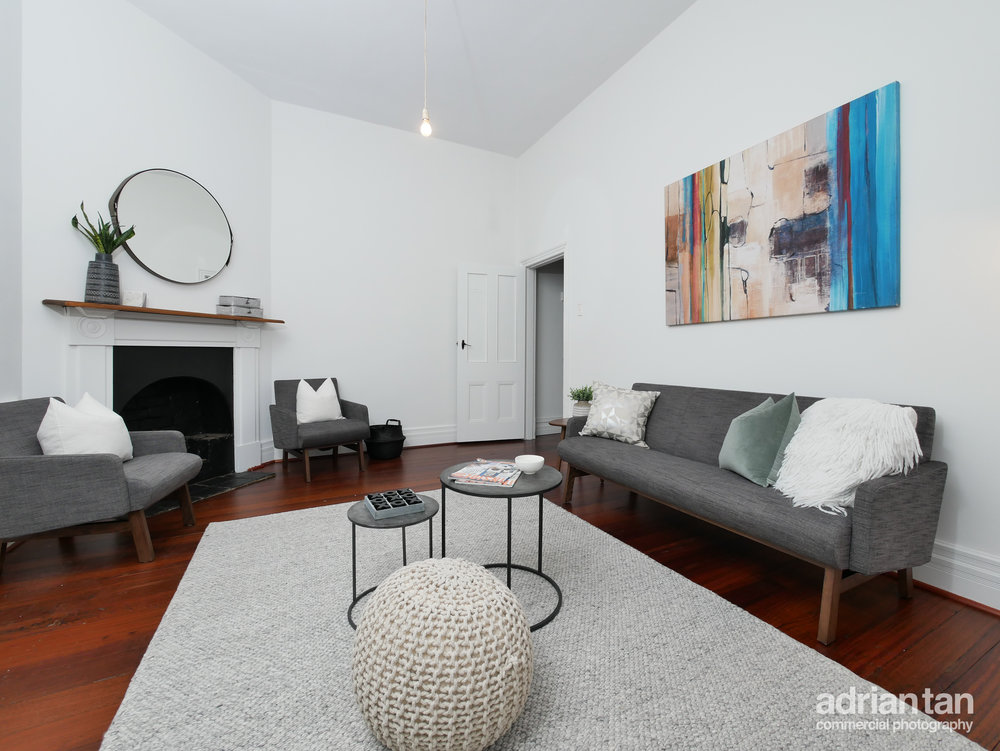 A typical real estate living room photo.