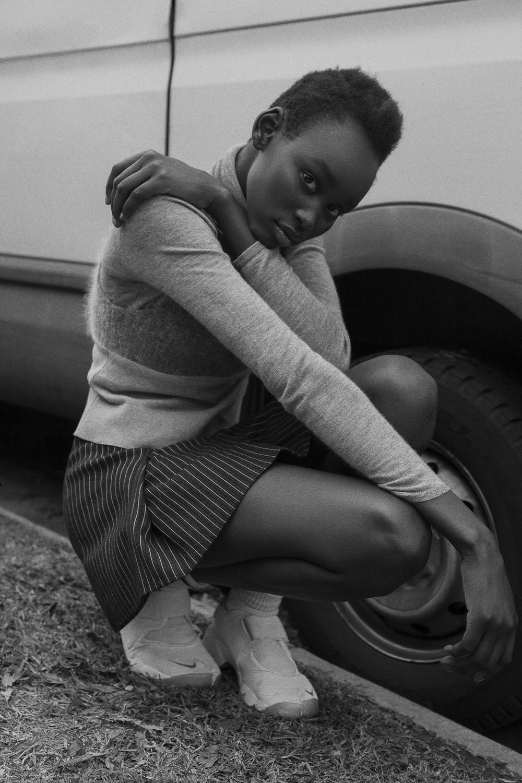 turtle neck and singlet vintage   skirt  stella mccartney   socks  adidas   shoes  nike