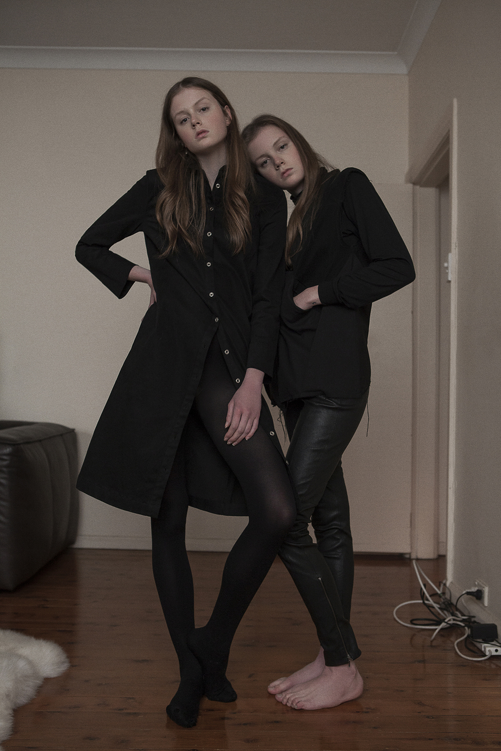 Left wears  suede shirt dress limedrop   Right wears  turtleneck stylits own, vest monster alphabet, leather pant bec & bridge