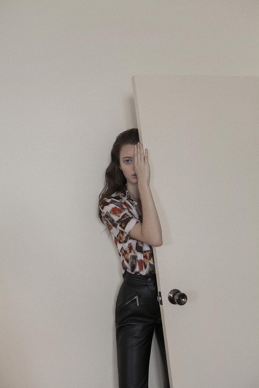 top  models own  belt worn over shoulder  stylists own  leather pant  harley davidson @ zoo emporium