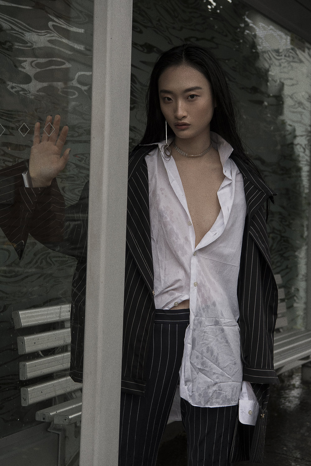 custom pinstripe shirt  aaizel  white collared shirt  calvin klein   pinstripe pant  acne  choker + earring  models own