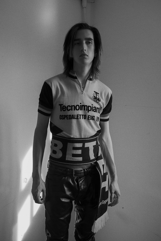 cycling jersey  vintage  jeans  KTZ  scarf wrapped around waist  gosha rubchinsky  boots  gary baseman x dr marten