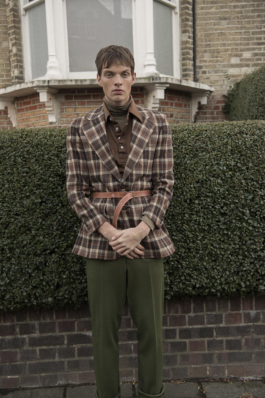jacket + collared top + trousers  vintage / the market cartel  turtleneck  stylists own    belt  margaret howell