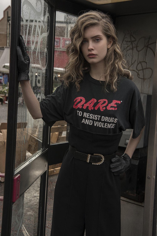 dare t-shirt  mint vintage  gloves  the market cartel  trousers  toga pulla  belt  vintage