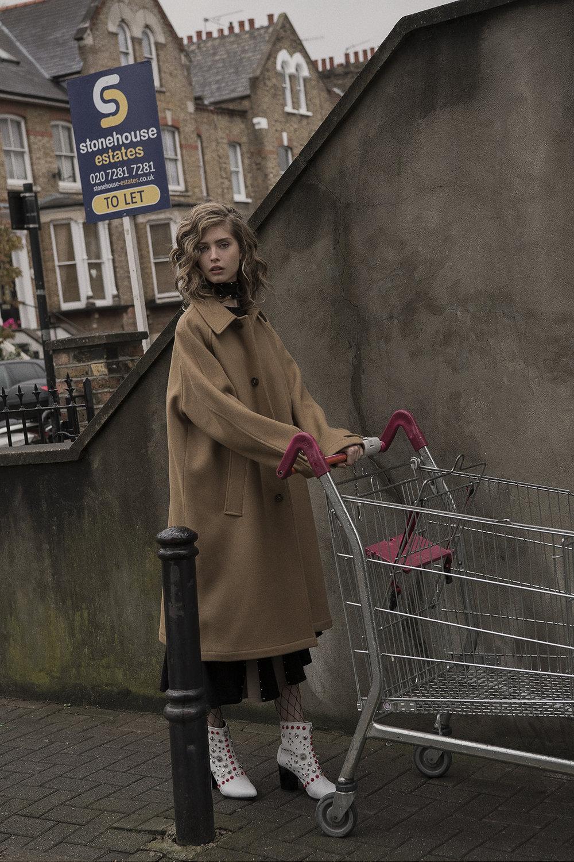 beige coat  liful  dress  the market cartel  boots  toga pulla