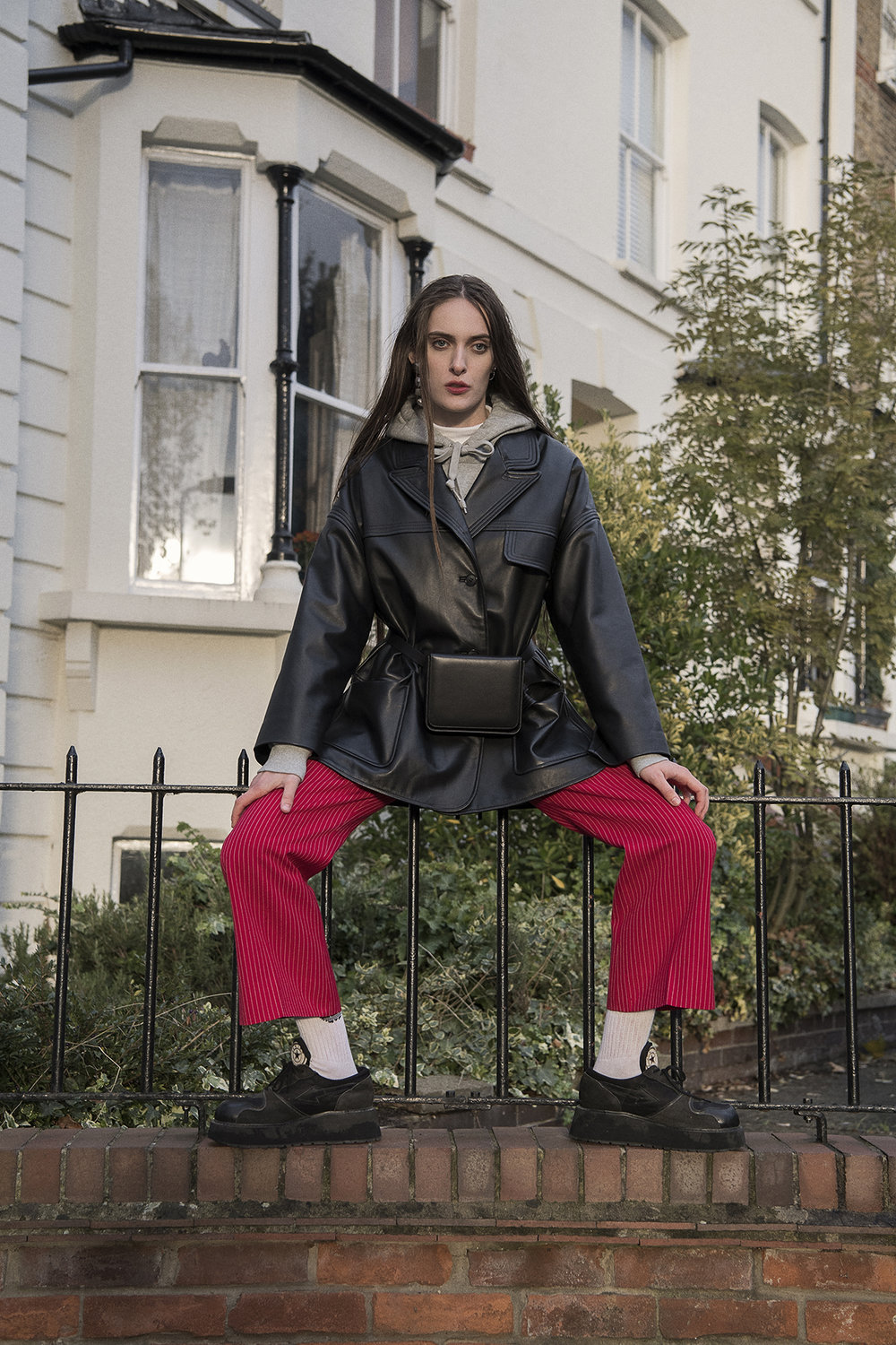 leather jacket  are you  hoodie  champion  red trousers + shoes  the market cartel  bum bag  persephoni  earrings  vintage  bracelet  toga