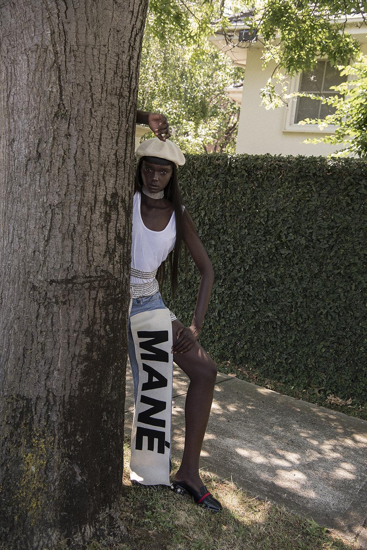 beret + choker    stylist's own  tank top   acne studios    pant s MANÉMANÉ  shoes  gucci