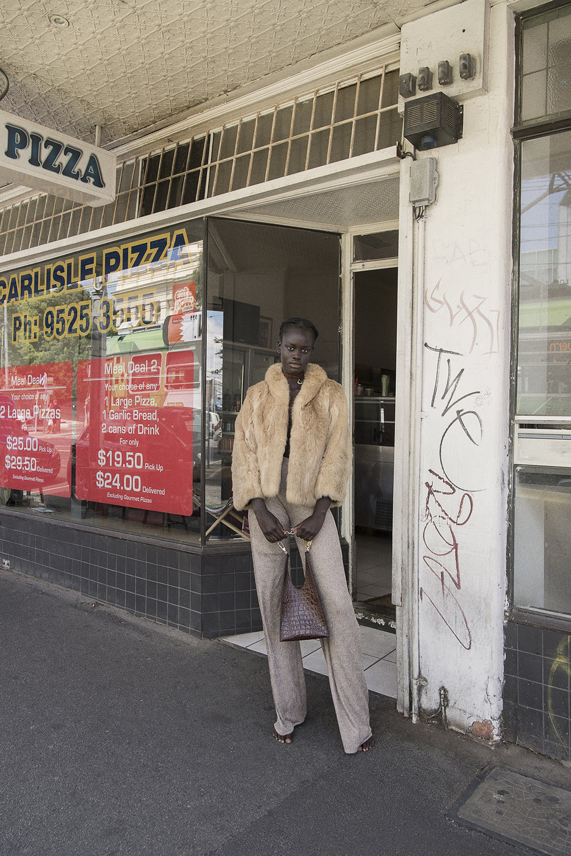 fur coat  vintage  lace pant + bag  aaizél