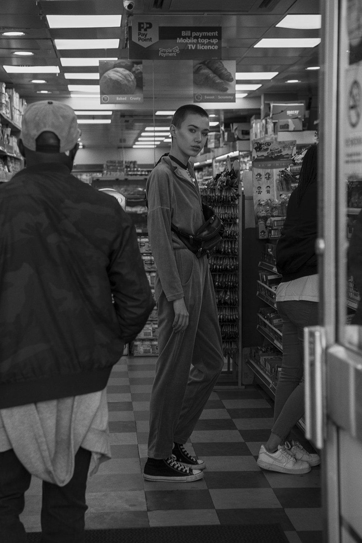velvet jumpsuit  vintage the market cartel  choker  model's own  bumbag  stylist's own  trainers  converse