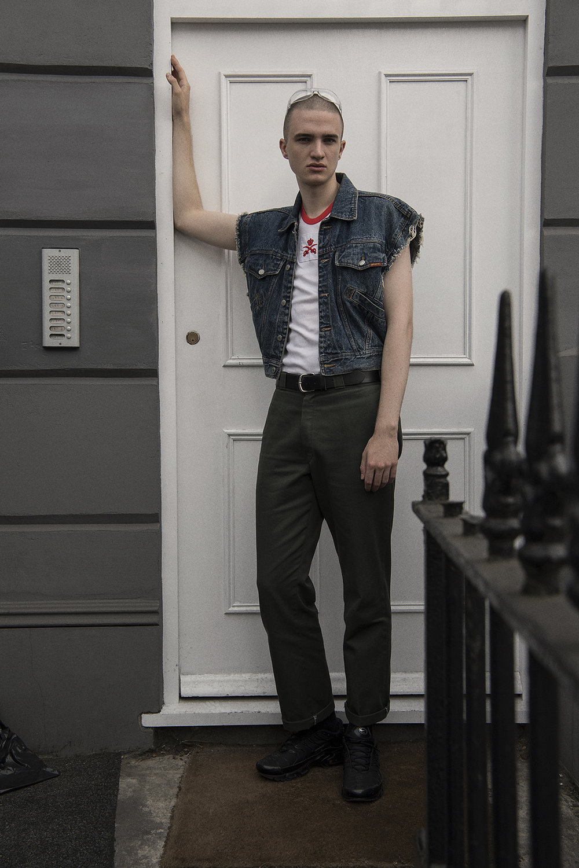 top + denim jacket  vintage @ the market cartel  trousers + belt  model's own  trainers  nike