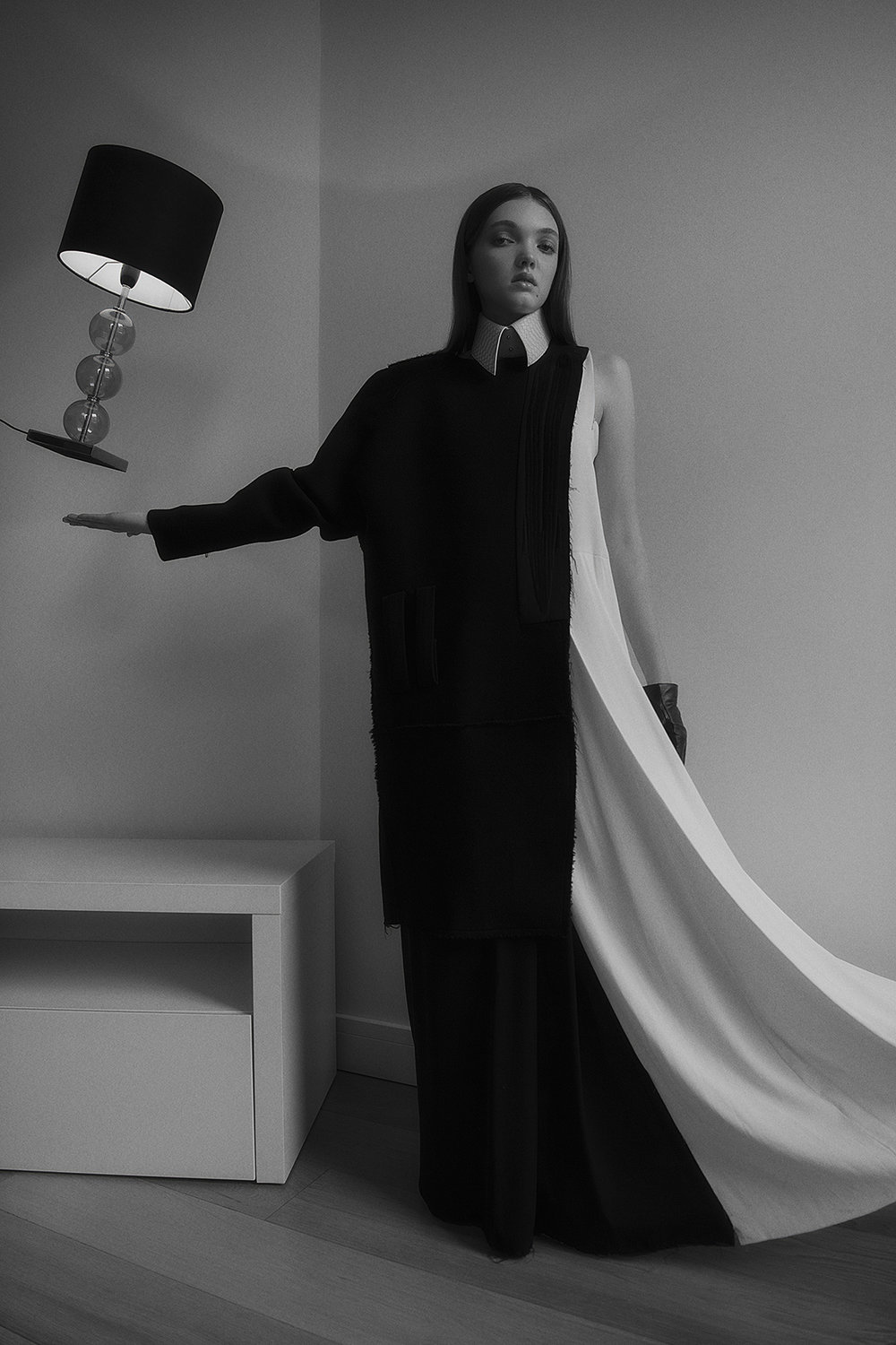 dress + coat  omer asim  croc collar  aaizél  gloves  stylist's own