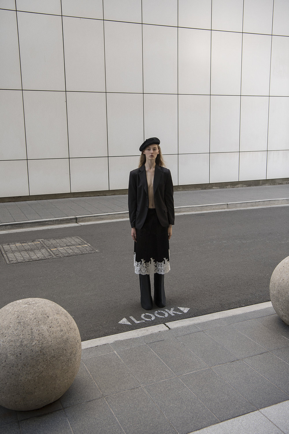 beret  stylist's own  blazor  fei fei yang  skirt + pants  céline  sneakers  models own