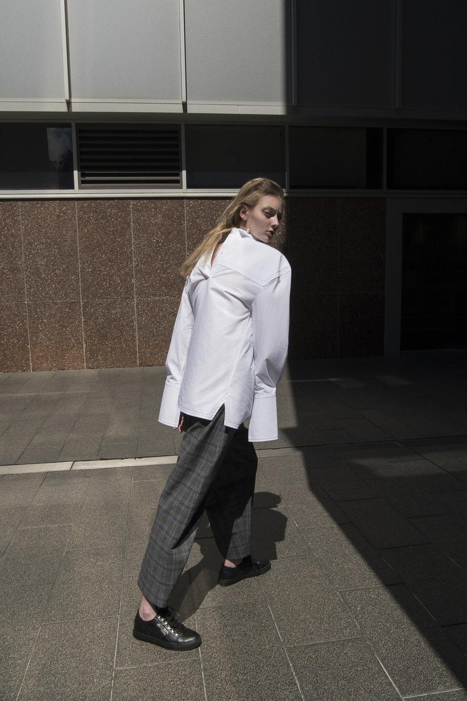 earring  céline   shirt  trunk project  pants  vetements  sneakers  model's own