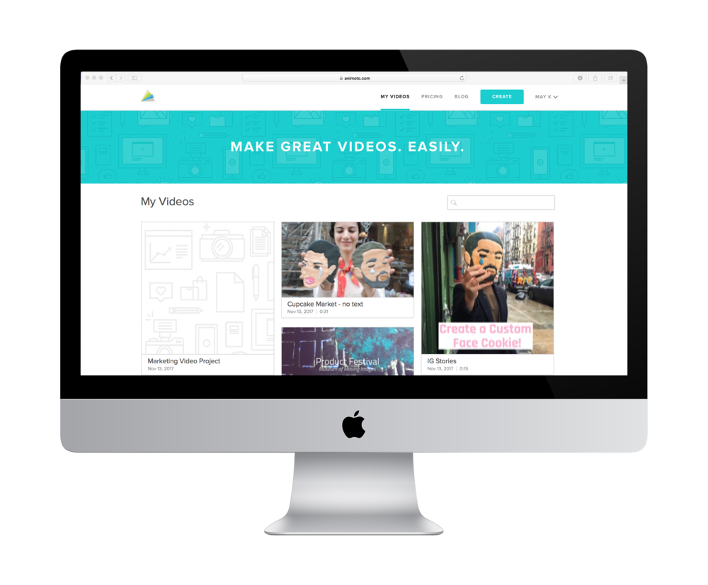 Animoto's web app: logged-in state displaying the user's video projects
