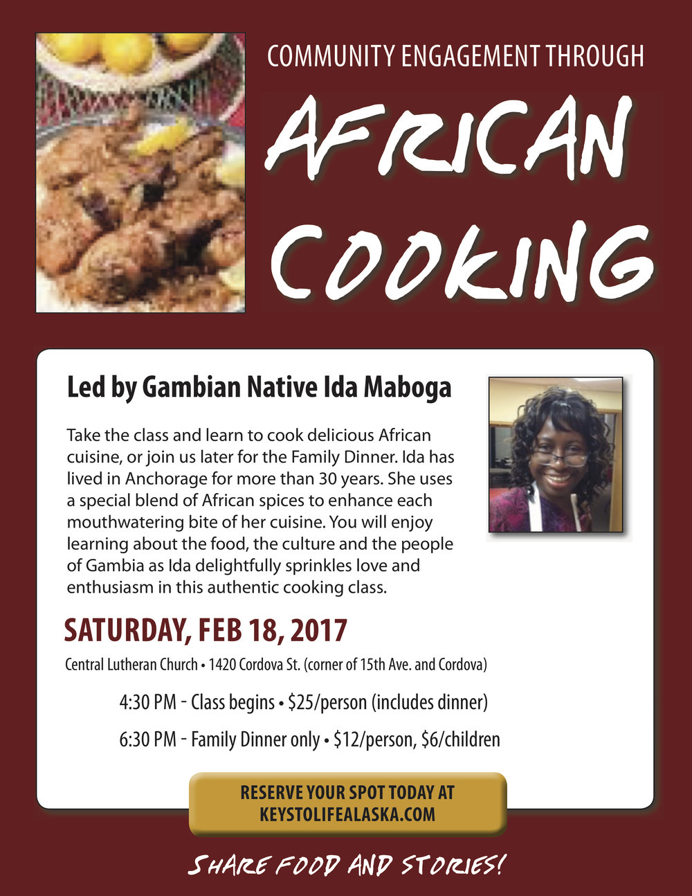 Co color art printing anchorage alaska - African Cooking Class Dinner
