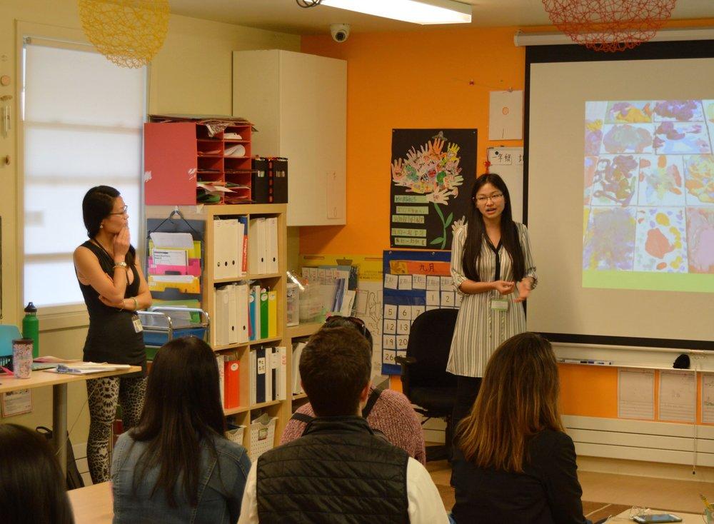 First grade teachers update parents at Curriculum Night 2016.