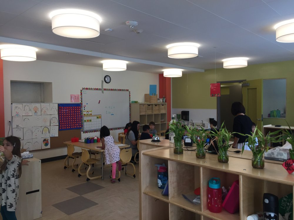 Roomy kindergarten classrooms each have direct access to the playground.