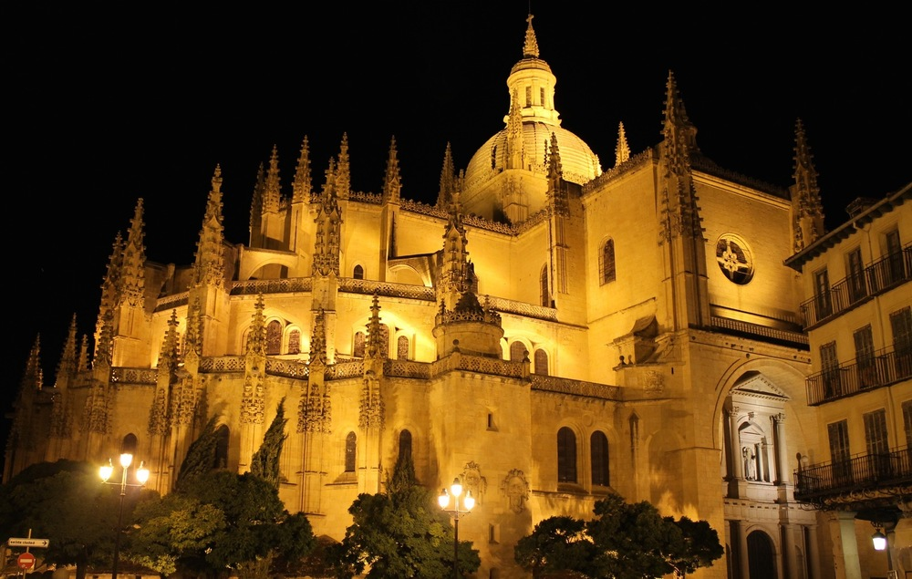 Cathedral by night in Segovia