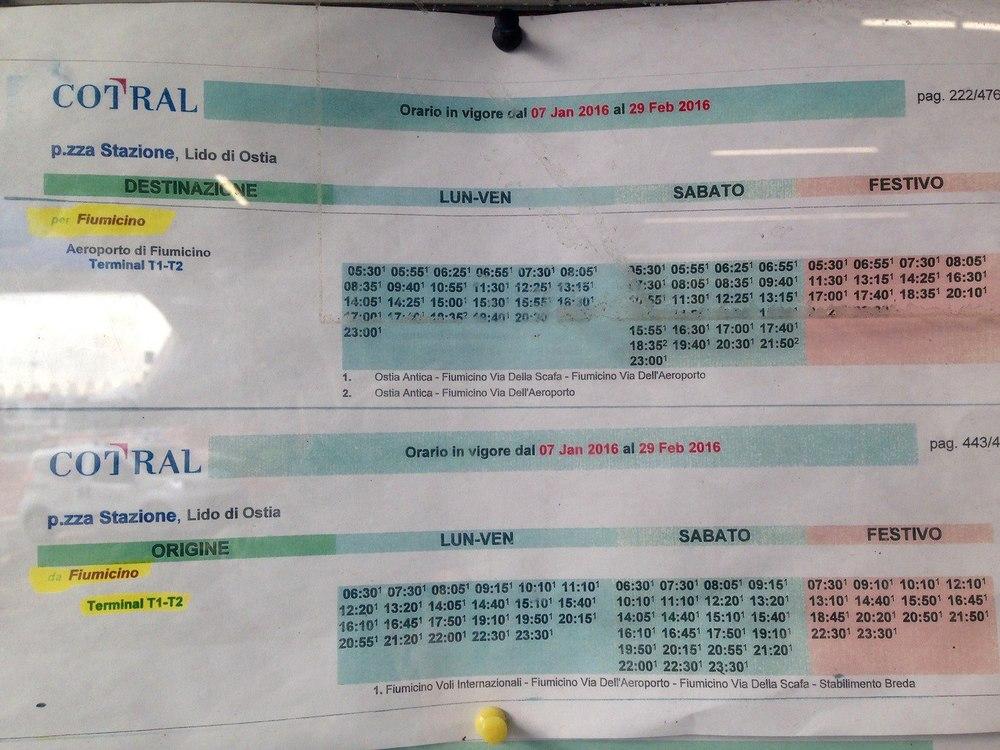 Ostia Antica Cortal Bus Schedule