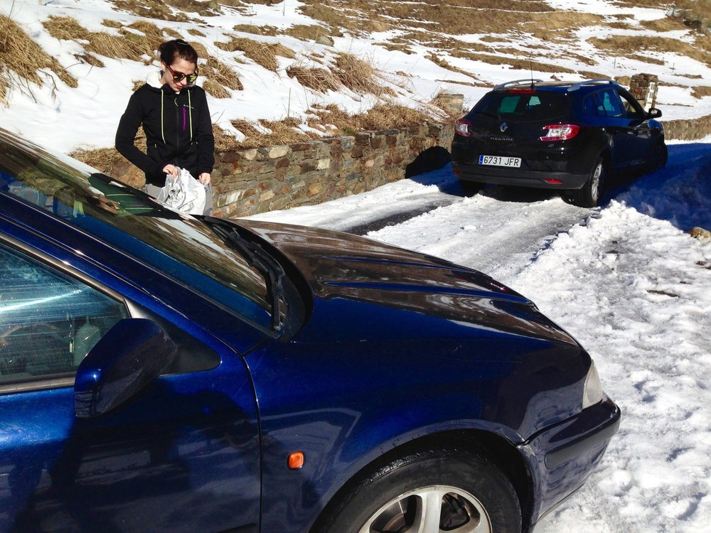 Cars stuck in snow in Andorra