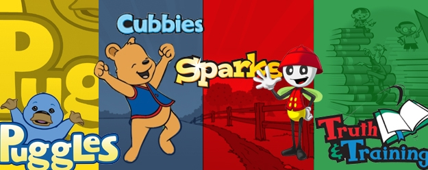Puggles: Ages 2 - 3 • Cubbies: Ages 3 - 4 • Sparks: Grades K - 2 • Truth & Training: Grades 3 - 6