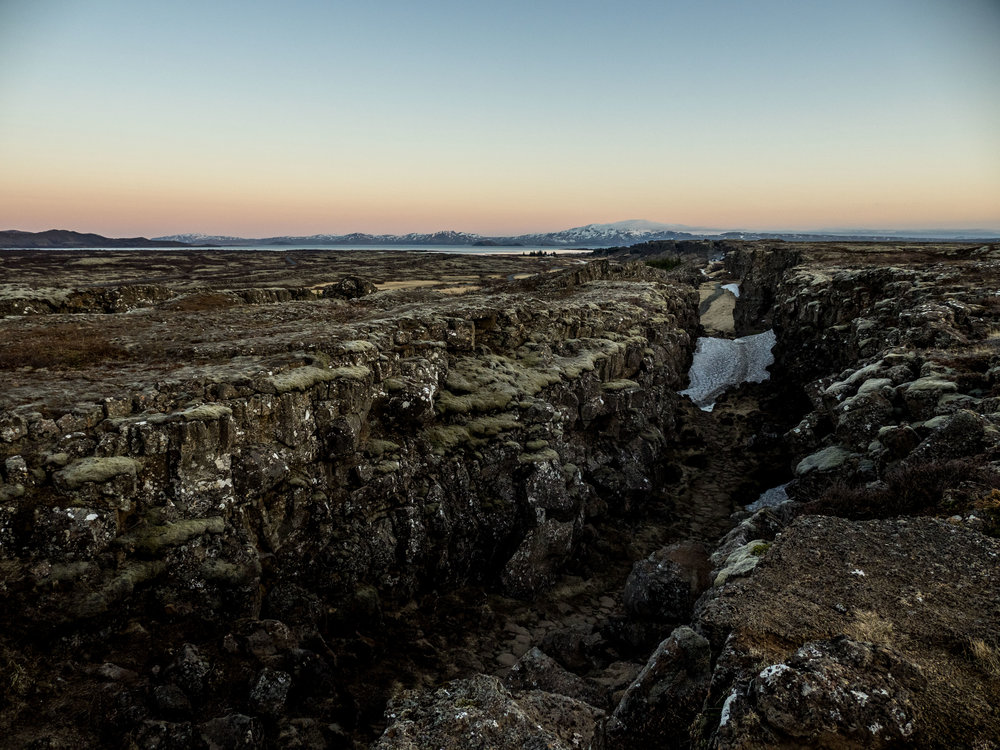 The mid Atlantic ridge in Þingvellir National Park. Iceland is half North American half European.