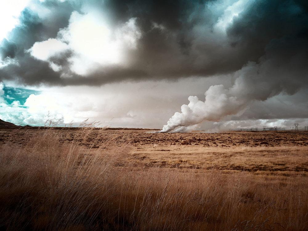 Geothermal steam near Hellsheði power station