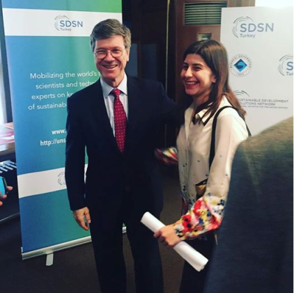 Buket Altınçelep and Jeffrey Sachs at Bogazici University, in Turkey.