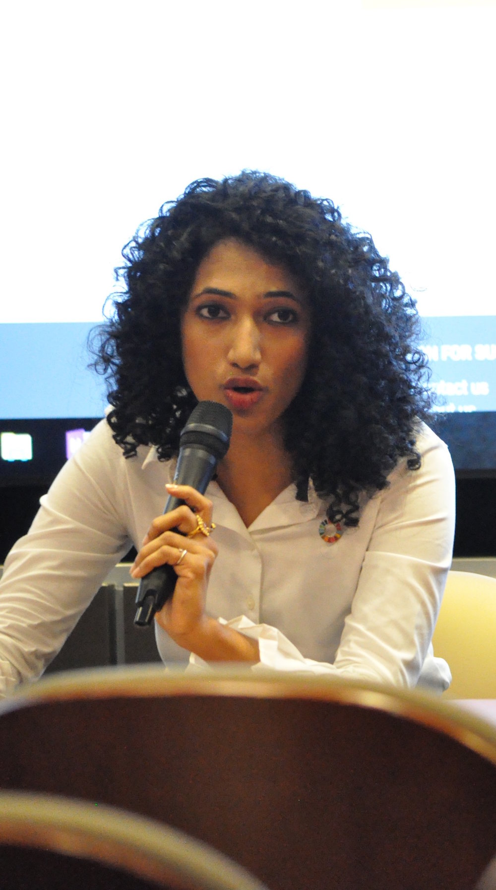 Trisha Shetty answers a student question.  Photo credits: Yonatan Weinberg/The Georgia Tech Center for Serve-Learn-Sustain