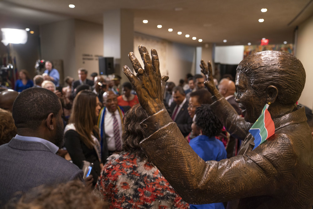 Unveiling Ceremony of Nelson Mandela Statue from South Africa. At right, the Nelson Mandela Statue gifted to the United Nations by the Republic of South Africa. Photo credits: UN Photos
