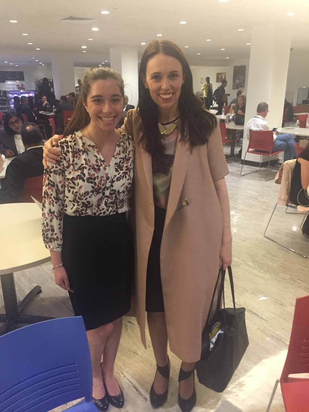 Sienna Nordquist, a Project Officer at SDSN Youth, had the good fortune of seeing Prime Minister Jacinda Ardern in the UN cafeteria. PM Ardern was kind enough to take a picture with Sienna!