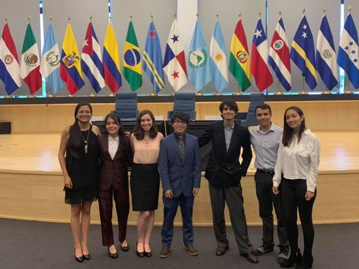 SDSN Youth's delegation at the Latin American Parliament. From left to right: Daniela Guevara (SDG Coordinator, Escuela Politécnica Nacional), Selena Jimenez (Yachay Tech University), Sienna Nordquist (Project Officer, Networks Team), David Carchipulla (SDG Coordinator, Escuela Politécnica Nacional), Martin Velez (Yachay Tech University), Nicolás Serrano (Network Coordinator, Andes), and Maria Jose De La Torre (SDG Coordinator, Yachay Tech University).