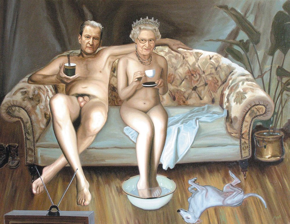 AN AUDIENCE WITH THE QUEEN,   oil on canvas,   110 x 143 cm    Winner of the Thames & Hudson   Pictureworks Prize 2010
