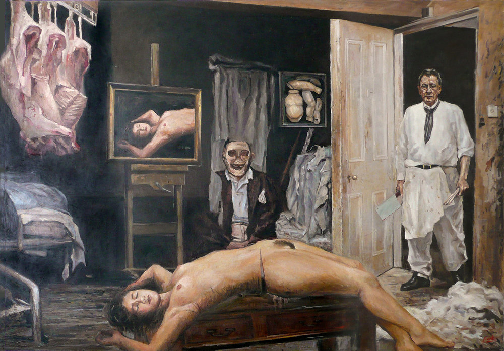 THE PRICE OF ART IS MURDER, oil on canvas, 109 x 155 cm / 42.9 x 61 in