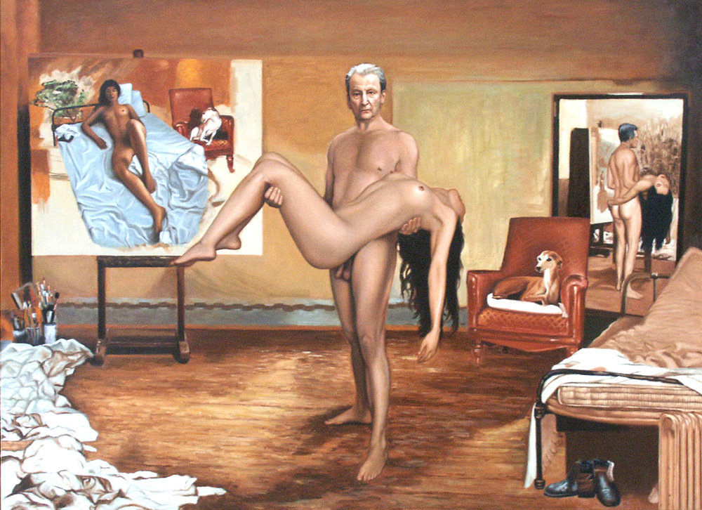 FREUD CARRYING MODEL, oil on canvas, 118.7x163 / 46.7 x 64.2 in