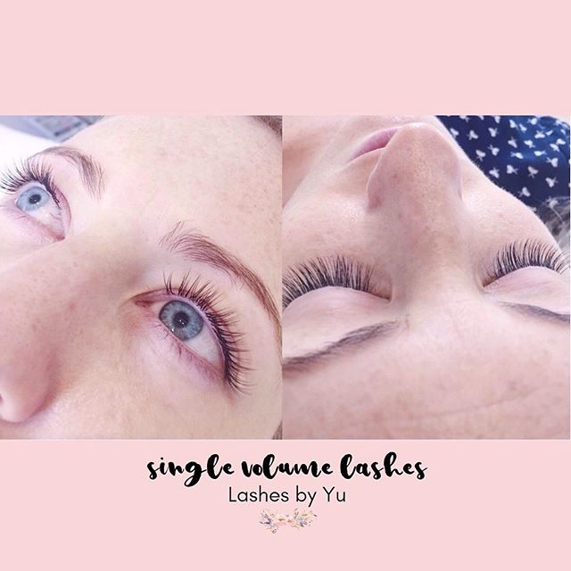 Looking for a set of lash extensions to glam up your eyes? Our single volume lashes will help you to achieve just that! - Lashes by Yu - First-time customers can get this look at $107 (U.P. $120), so book an appointment with us today!  #eyedesign #lashextensions  #gorgeouseyes