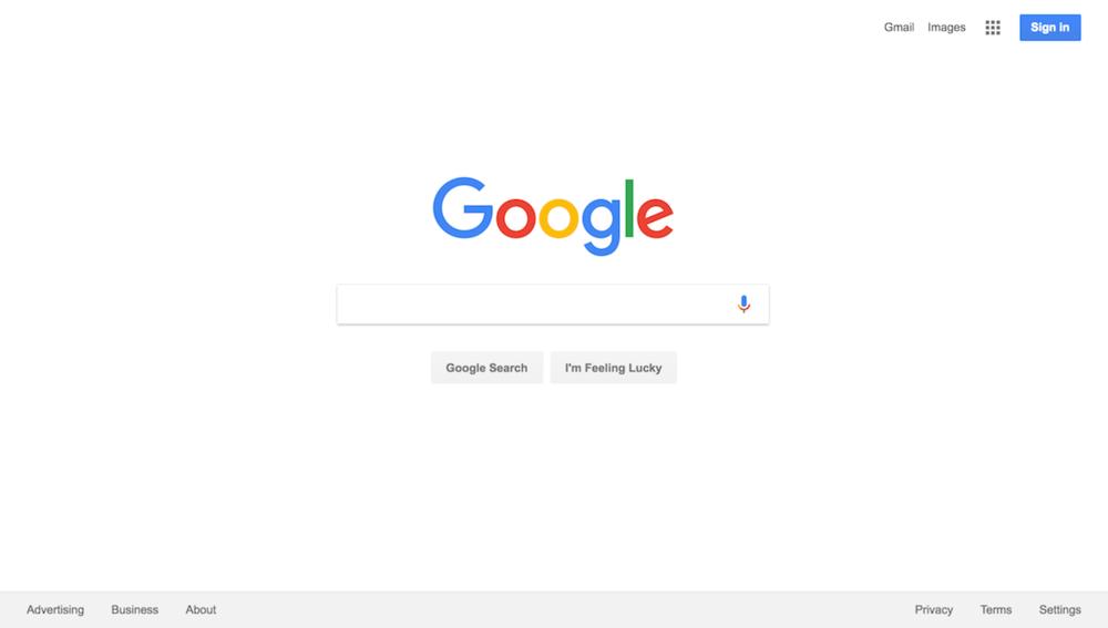Giao diện bắt đầu của google