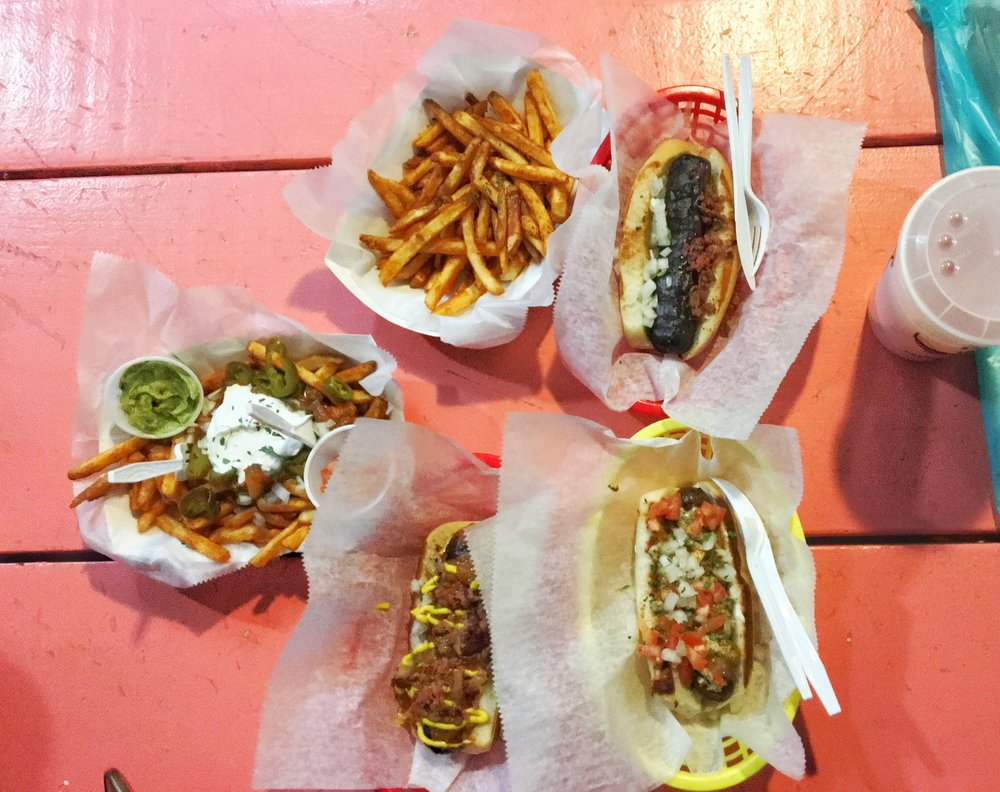 Plain fries, Crawfish fries, Guinness dogs & a Crawfish dog - Dat Dog