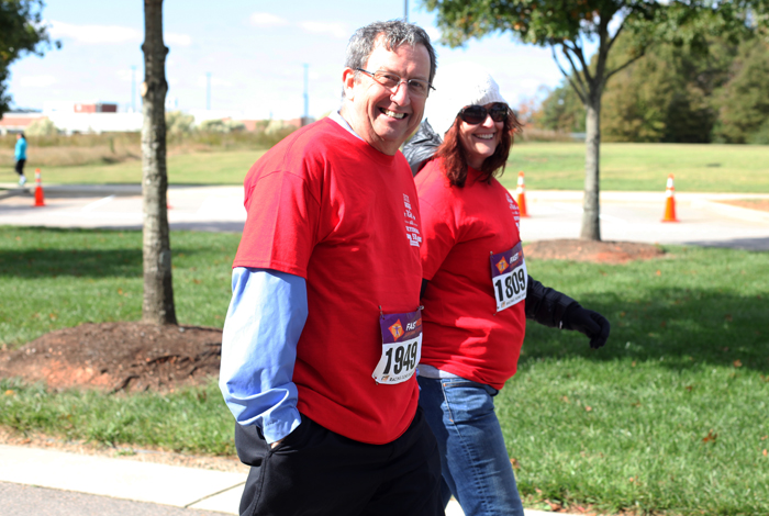 Eddie and Karen walk the 5K.