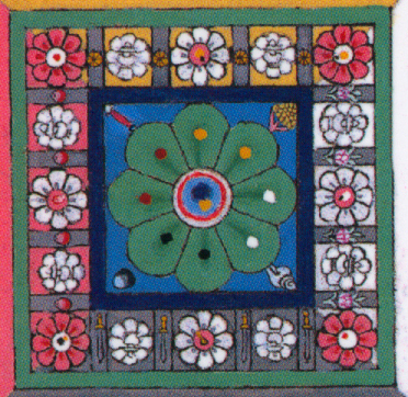Close up of the Circle of Great Bliss, showing the four emblems in the corners of the square containing the central lotus.jpg